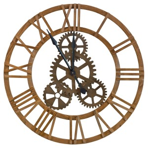 Large Round Wooden Cog Wall Clock