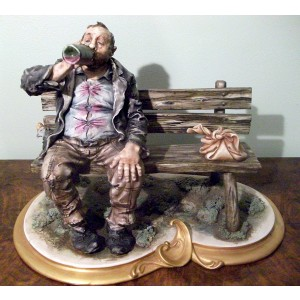 Tramp on Bench Drinking by IPA Studio