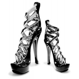 Ceramic Black & Silver Stiletto Shoes