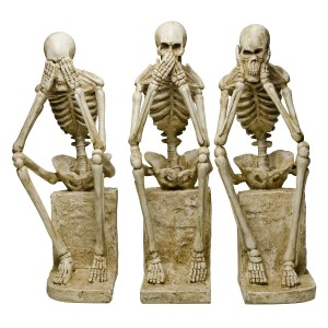 See No Evil, Speak No Evil, Hear No Evil Skeleton Statues