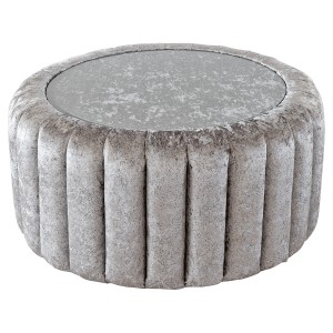 Large Glass Top Fabric Pouffe