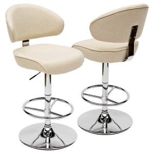Casino Bar Stool - Arran Oyster Fabric