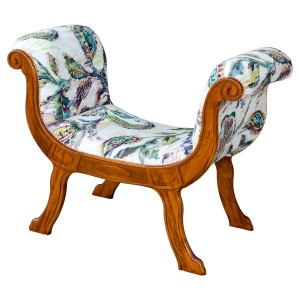 Cleopatra Occasional Chaise in Tropical Fabric and Teak Wood Finish