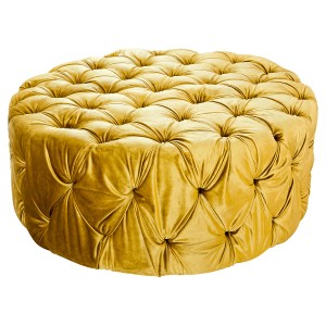 Large Gold Fabric Pouffe