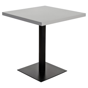 Grey square table top on a matching black table base