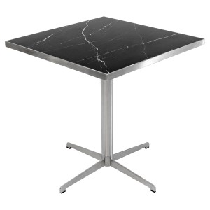 Black marble square table top on top of a brushed steel table base