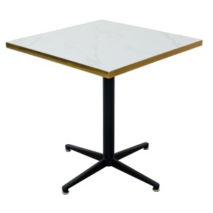 White Ceramic Square Table Top on top of a black metal table base