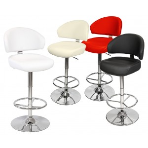 Casino Bar Stool in Black, Cream, Red or White