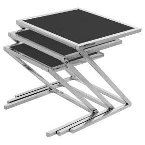 Glass Nest of Three Tables (Set of 3) - Black