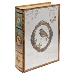 Mirrored Robin Storage Book Box - Mirrored Front Cover