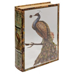 Mirrored Peacock Storage Book Box - Mirrored Front Cover