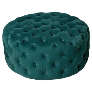 Round Green Fabric Pouffe