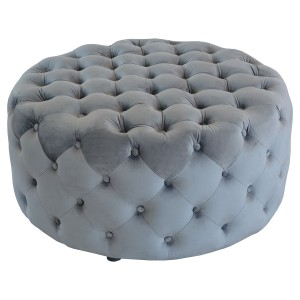 Round Grey Fabric Pouffe