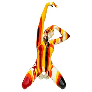 Amorous red, orange and yellow lady sculpture