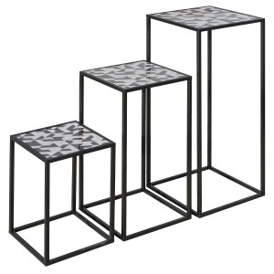 Nest of Three Tall Tables (Set of 3) - Geometric Pattern Top