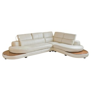 Cream Leather Corner Sofa with LED Light