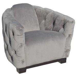 Deep Button Grey Club Chair