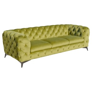 Deep Button Green Three Seater Sofa