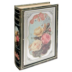 Mirrored Flower Storage Book Box - Front