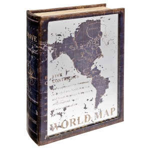 Mirrored World Map Storage Book Box - Front