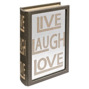 Mirrored Live Laugh Love Storage Book Box - Front