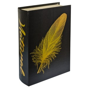 Gold Feather Natural Storage Book Box - Front