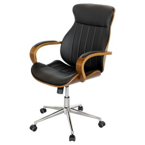 Walnut Eames Style Black Office Chair