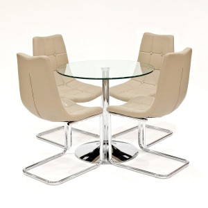 Clear glass dining set with beige Menson dining chairs
