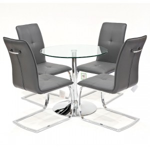 Clear glass dining set with grey Belmont dining chairs