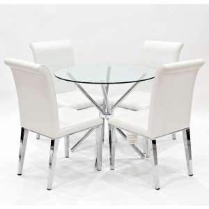Criss-Cross clear glass dining set with white Kirkland dining chairs