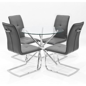 Criss-Cross clear glass dining set with grey Belmont dining chairs