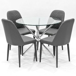 Criss-Cross clear glass dining set with grey Riversway dining chairs