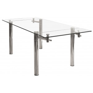 Glass Top Rectangular Extending Dining Table