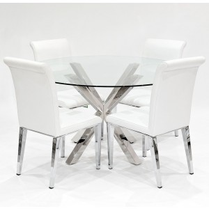 Crossly clear glass dining set with white Kirkland dining chairs