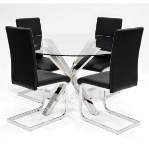 Crossly clear glass dining set with black Brescia dining chairs