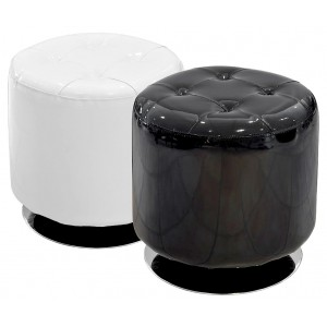 Spinning Drum Stool in Black or White PVC