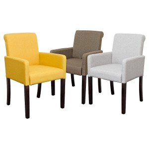 Sadie Linen Tub Chair in Grey, Brown or Mustard Yellow Fabric