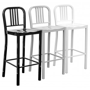 Navy Metal Bar Stool in Black, Silver or White