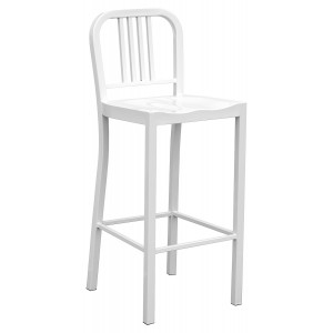 Navy Metal Bar Stool - White