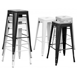 Tolix Replica Metal Bar Stool in Black, Silver or White