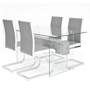 Glasstone dining set with grey Brescia dining chairs
