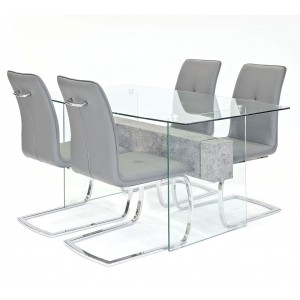 Glasstone dining set with grey Belmont dining chairs