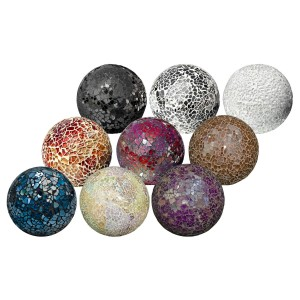 Mosaic Glass Balls in Black, Mirrored, White, Orange, Red, Brown, Blue, Natural or Purple