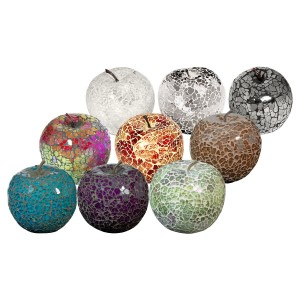 Mosaic Glass Apples in Blue, Purple, Natural, Mutlicoloured, Orange, Brown, White, Mirrored or Black