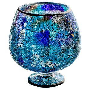 Blue Mosaic Glass Hurricane Small Vase