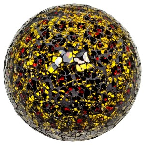 Mosaic Glass Ball - Gold & Red - Small