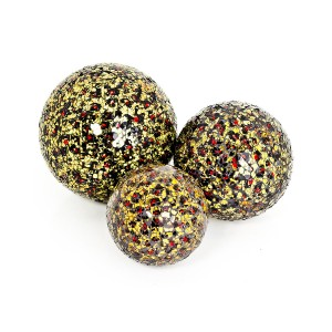Mosaic Glass Ball - Gold & Red in Small, Medium or Large