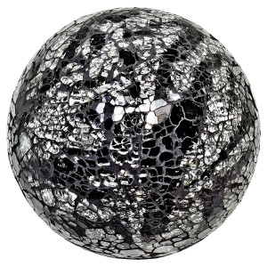 Mosaic Glass Ball - Silver & Black - Medium