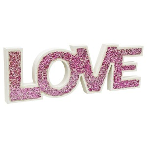 Mosaic Glass Standing Love Letters Decoration - Pink