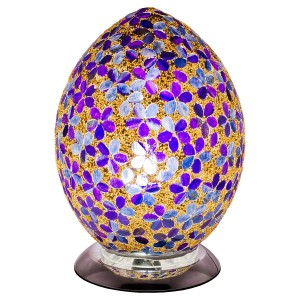 Mosaic Glass Egg Lamp - Purple